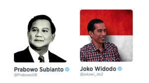 Akun Twitter Resmi Prabowo Subianto dan Joko Widodo saat Kampanye Pilpres 2014 (Credit: rappler.com)