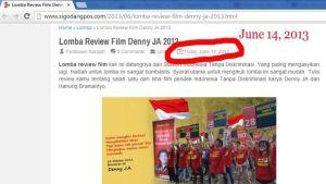Pengumuman Lomba Review Film Denny JA 14 Juni 2013 via Sahlul Fuad