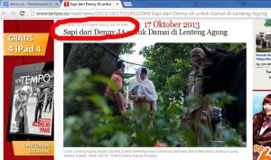 Sapi Deny untuk Lurah Susan, 17 Oktober 2013 via Sahlul Fuad