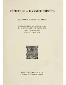 Halaman Sampul Letters of A Javanese Princess