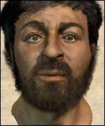 Wajah Yesus ala BBC yang merupakan rekonstruksi berdasarkan tengkorak seorang Yahudi sejaman dengan masa Yesus hidup (Credit: BBC)