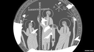 Wajah Yesus tanpa jenggot dan berambut pendek ala Kristen Awal di Spanyol berdasarkan ukiran pada piring berasal dari abad keempat (Credit: FORVM MMX project)