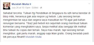 Tepisan Musdah Mulia atas Berita-berita yang Terkait dengan Status Facebook-nya