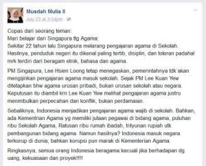 Status Facebook Musdah Mulia