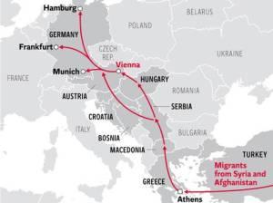 Grafis rute pengungsi Syria menuju Eropa diambil dari The Independent, Lizzie Dearden,