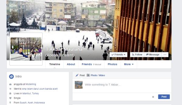 Facebook Profile Teuku Akbar Maulana