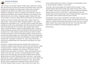 Status Facebook Sumanto al Qurtuby