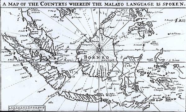 Sebaran bahasa Melayu. Sumber: www.britishlibrary.typepad.co.uk yang mengutip dari Malay-English Dictionary (1701) karya Thomas Bowrey.